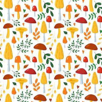 Jesienne liście i grzyby wzór ręcznie rysowane grzyby na białym tle powtórzyć drukowanie