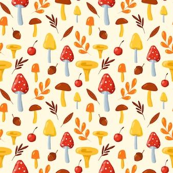 Jesienne liście i grzyby wzór ręcznie rysowane grzyby na tle kości słoniowej powtórzyć drukowanie