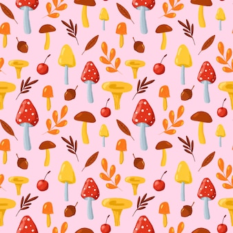 Jesienne liście i grzyby wzór. ręcznie rysowane w stylu cartoon grzyby na różowym tle powtórzyć drukowanie. jesień natura tło dla tekstyliów, tkanin, tapet, papieru do pakowania, projektowania.