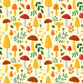 Jesienne liście i grzyby wzór ręcznie rysowane w stylu cartoon grzyby powtarzają drukowanie