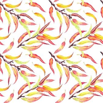 Jesienne liście na gałęziach. naturalny wzór, akwarela