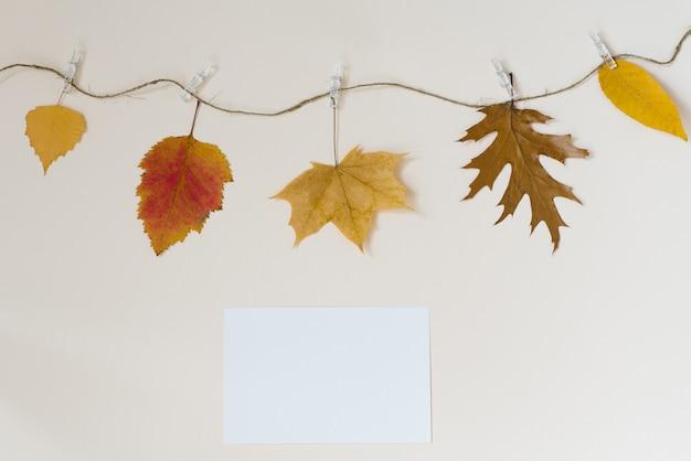 Jesienne liście opadają na sznur z spinaczami do bielizny na jasnej beżowej ścianie. koncepcja jesiennych rabatów. skopiuj lokalizację