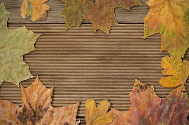 Jesienne liście ramki na drewniane tła.