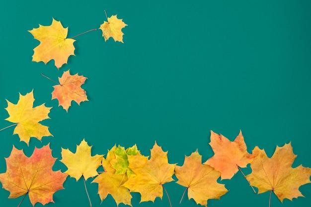 Jesienne liście są czerwone i żółte na starym niebieskim tle drewnianych. pojęcie wakacji, studiów.