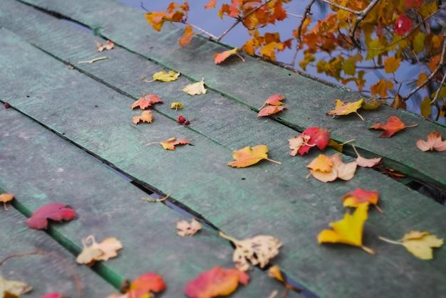 Jesienne liście są rozrzucone na drewnianym moście