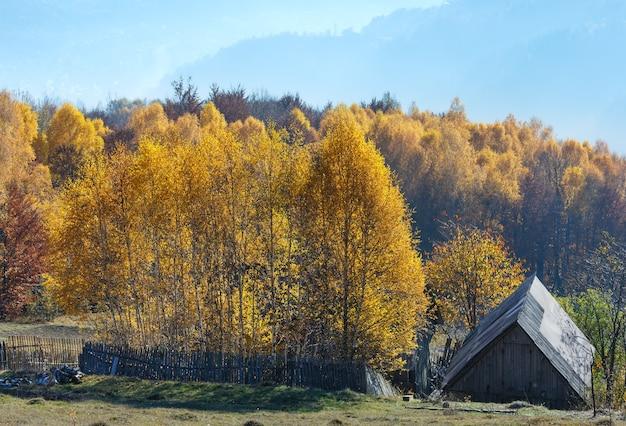 Jesienne mgliste zbocze góry z żółtymi brzozami i dachem drewnianego domu.