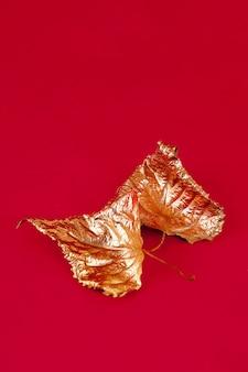 Jesienne suche liście pomalowane złotą farbą na czerwonej powierzchni.