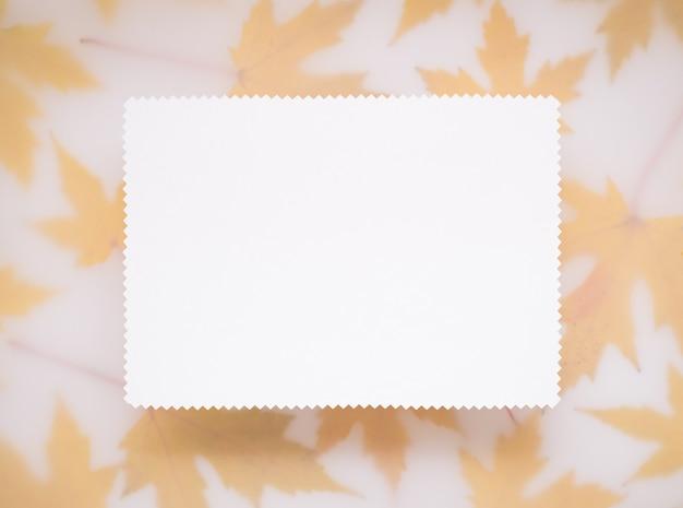Jesienne tło z ramą z liści klonu. biała kartka na tekst.