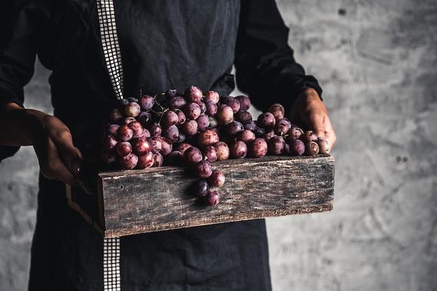Jesienne zbiory. kiść świeżych winogron w drewnianym pudełku. dojrzałe winogrona w ręce kobiety.