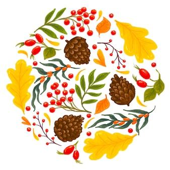 Jesienny krąg liści, szyszek jagód i gałęzi na białym tle
