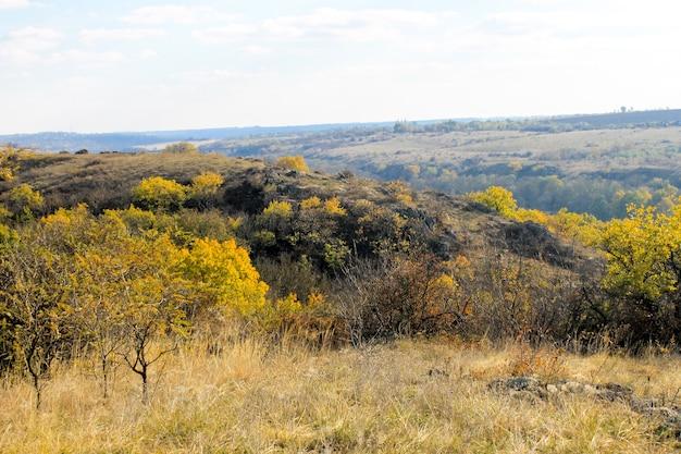 Jesienny krajobraz z drzewami, wzgórzami i niebem
