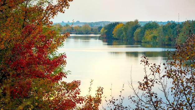 Jesienny krajobraz z rzeką i kolorowymi drzewami wieczorem