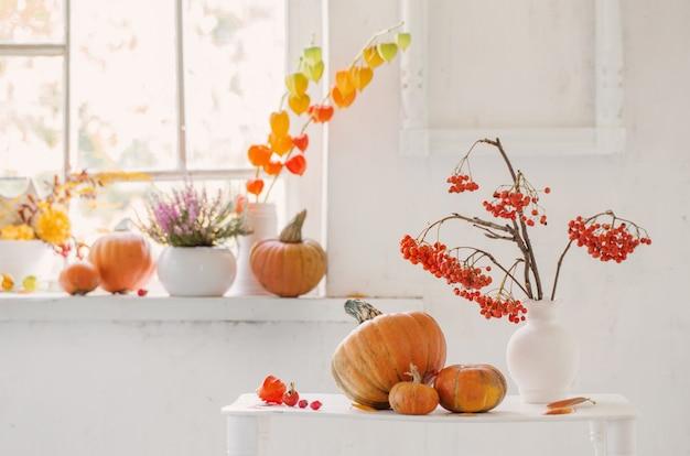 Jesienny naturalny wystrój z dyniami i jagodami jarzębiny na białym tle