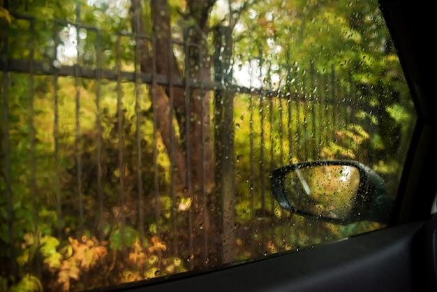 Jesienny park. rozmyty park przez okno samochodu spryskany kroplami deszczu.