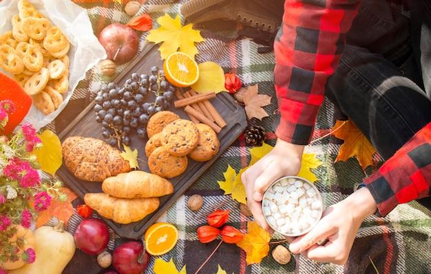 Jesienny piknik w parku, ciepły jesienny dzień.