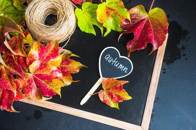 Jesienny pojęcie z jaskrawymi czerwonymi liśćmi