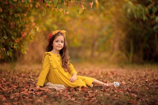 Jesienny portret pięknej dziewczyny spaceru w parku na sobie wieniec z żółtych liści