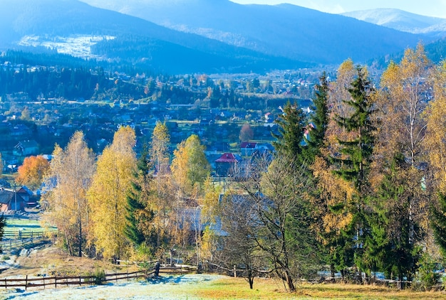 Jesienny szron na obrzeżach górskiej wioski (karpaty, ukraina)