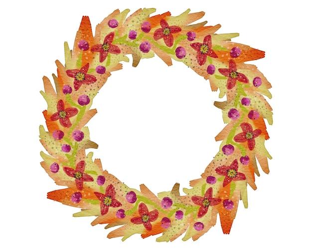 Jesienny wianek z liści i jagód. ręcznie rysowane stylu przypominającym akwarele