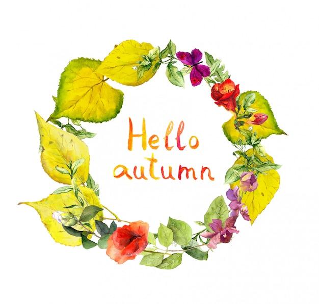 Jesienny wieniec. kwiaty i żółte liście. kwiatowy akwarela granicy