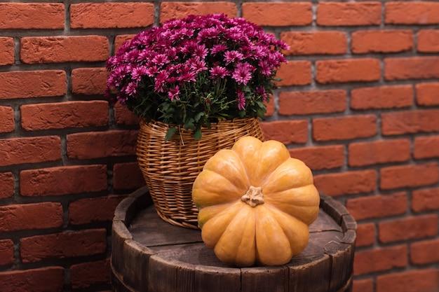 Jesienny wystrój z dynią i kwiatami na starej drewnianej beczce. zbiory i dekoracje ogrodowe na zewnątrz na halloween, święto dziękczynienia, martwa natura z jesieni. kompozycja w stylu jesieni.
