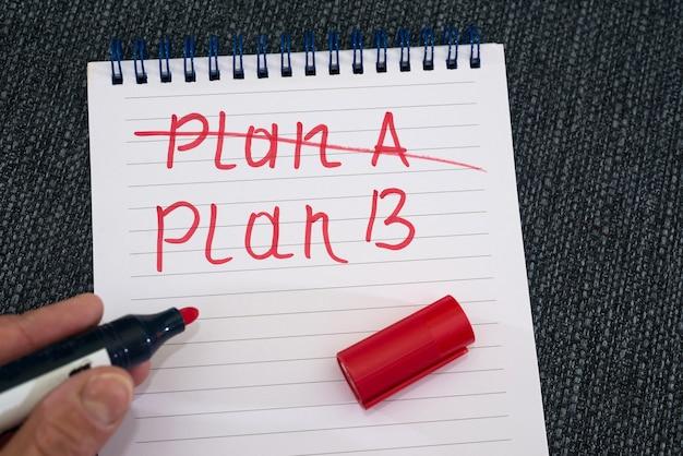 Jest plan b! ręka trzyma czerwony ołówek nad notatnikiem, na którym napis plan a jest przekreślony na czerwono. plan b.