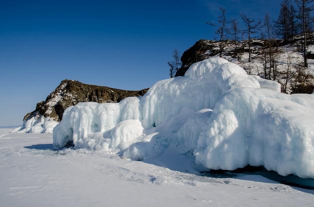 Jezioro bajkał pokryte jest lodem i śniegiem, mocnym zimnym, grubym, czystym, niebieskim lodem. sople zwisają ze skał. jezioro bajkał to mroźny zimowy dzień. niesamowite miejsce