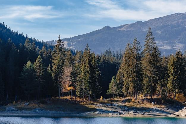 Jezioro flims w szwajcarii, alpejskie góry, słoneczny, letni krajobraz