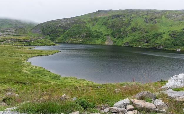 Jezioro i roślinność tundry na wyspie soroya, norwegia