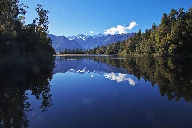 Jezioro lustrzane, wyspa południowa, nowa zelandia