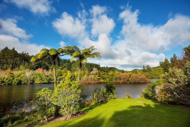 Jezioro mangamahoe, region taranaki, wyspa północna, nowa zelandia