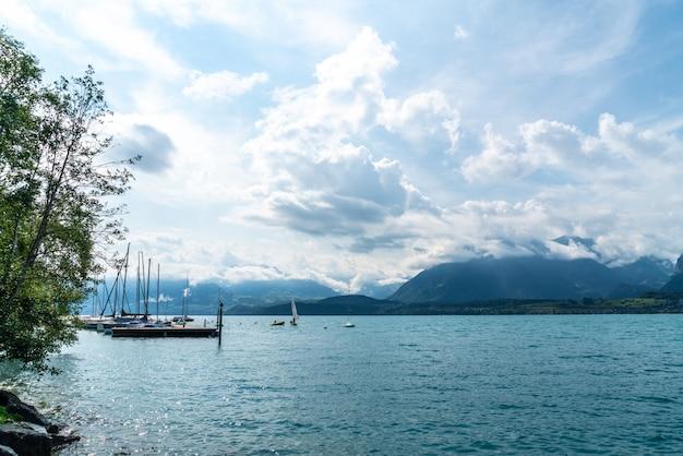Jezioro thun z górą w szwajcarii