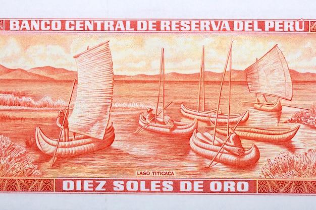 Jezioro titicaca ze starych peruwiańskich pieniędzy