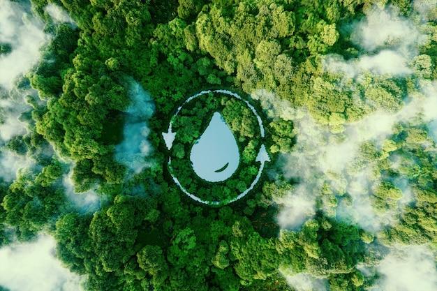 Jezioro w kształcie kropli wody pośród dziewiczej przyrody. ekologiczna metafora zdolności natury do zatrzymywania i oczyszczania wody. renderowania 3d.