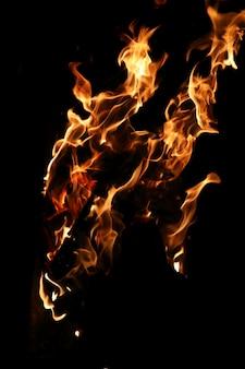 Języki płomienia ognia pomarańczowo-żółtego koloru z palącego się drewna opałowego
