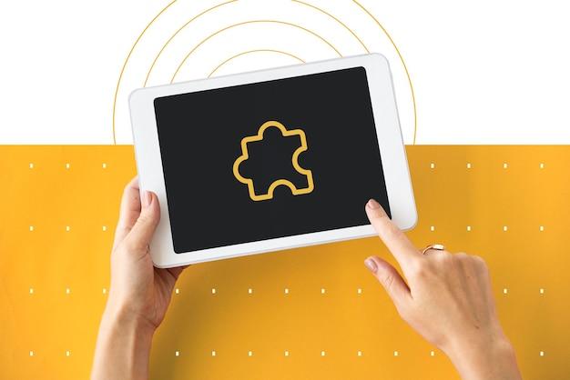 Jigsaw puzzle ikona symbol znak