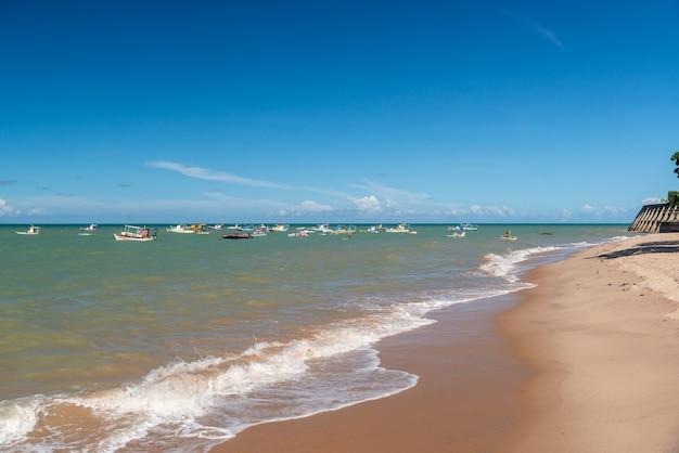 Joao pessoa, paraiba, brazylia 21 marca 2019 r. plaża tambau, drzewo i łodzie.