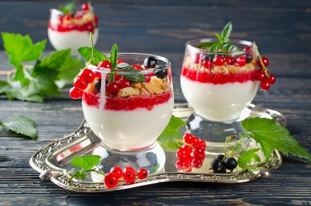 Jogurt z czerwonej porzeczki z miętą pieprzową