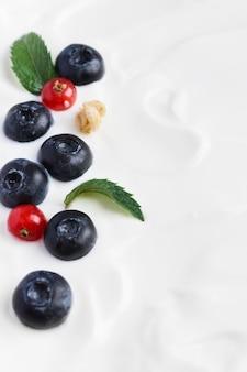 Jogurt z jagodami i żurawiną kopiuje przestrzeń
