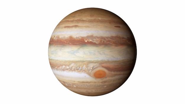 Jowisz na białym tle elementy tego obrazu zostały dostarczone przez nasa