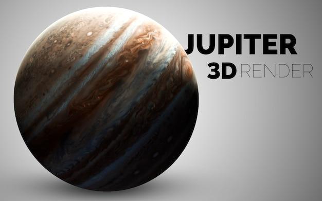 Jowisz. zestaw planet układu słonecznego renderowanych w 3d. elementy tego zdjęcia dostarczone przez nasa