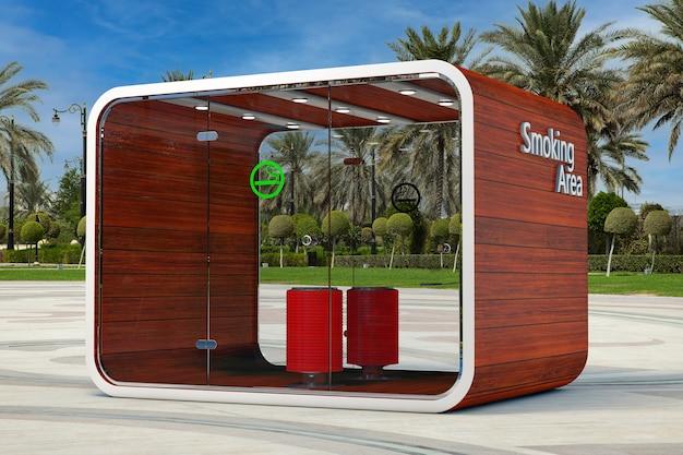 Kabina dla palących. specjalny pokój dla palących. strefa dla palących papierosy, tytoń, vipes i e-papierosy w pustej ulicy miasta z ekstremalnym zbliżeniem palmy. renderowanie 3d