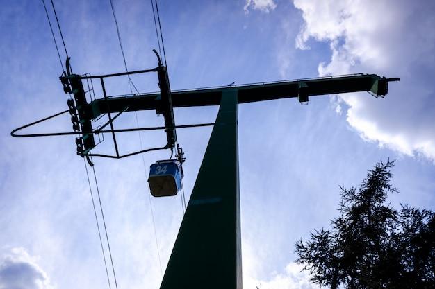Kabiny kolejki linowej widziane od dołu w podświetleniu.
