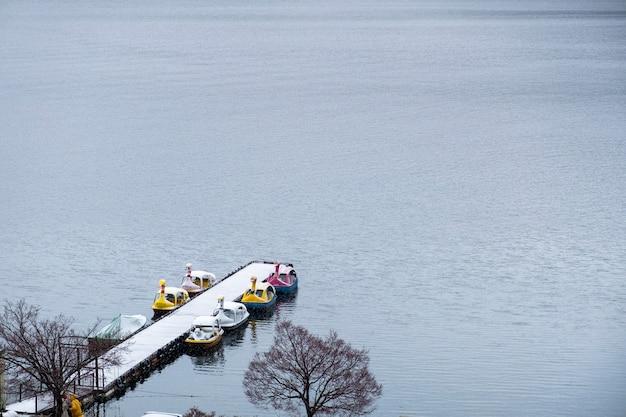 Kaczka łódź w jeziorze kawaguchiko, japonia