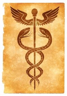 Kaduceusz symbol grunge