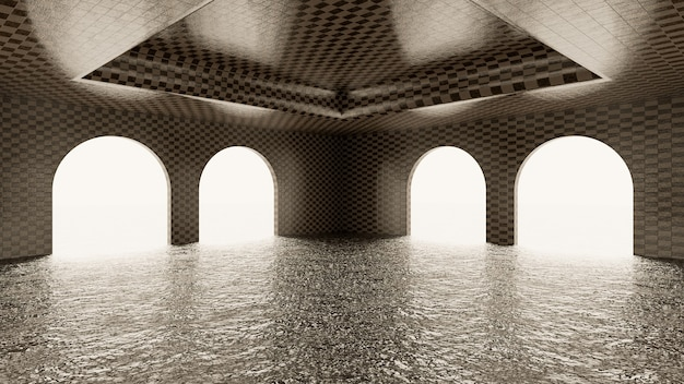 Kafelkowy pokój łukowy z wodą na podłodze i białym podświetlanym tłem