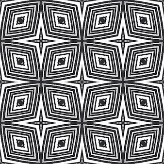 Kafelkowy wzór akwarela. czarne tło symetryczne kalejdoskop. ręcznie malowane taflowy akwarela bezszwowe. tekstylny gotowy nadruk z klasą, tkanina na stroje kąpielowe, tapeta, opakowanie.