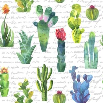 Kaktusy bezszwowy wzór. akwarela kaktusy wzór na papier pakowy lub scrapbooking.