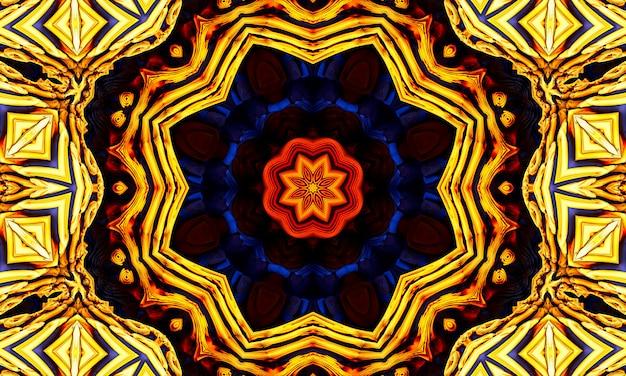 Kalejdoskop gwiazda tło. piękna wielokolorowa tekstura kalejdoskopu. unikalny projekt kalejdoskopu, niepowtarzalny kształt, cudowna faktura, pomarańczowy abstrakcyjny wzór.