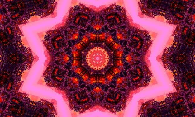 Kalejdoskop kwiatowy fioletowy i magenta. kaledoskopowy wzór do produkcji opakowań, scrapbookingu, pakowania prezentów, książek, broszur, albumów